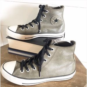 Leather Metallic Converse High Tops Olive Green
